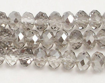 5x8mm Metallic Halftone Silver Chinese Crystal  Rondelle Beads (50)