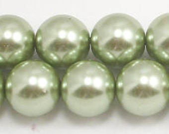 14mm Lt Sage Glass Pearls 12 Pcs 14mm glass pearls #14LSGGP Swarovski quality at half the price High Quality 14mm glass pearls