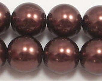 16mm Brown Glass Pearls