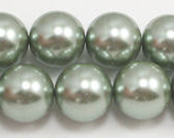 16mm Sage Glass Pearl beads (5) Grade AAA sage round glass pearls