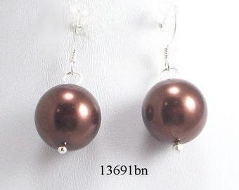 Brown Glass Pearl Earrings