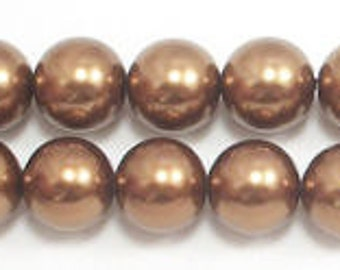 14mm Bronze Glass Pearls - 12 pieces
