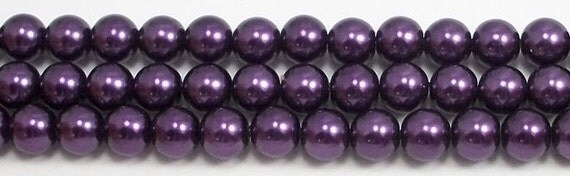 8mm Purple Glass Pearl Beads