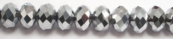 8x12mm Metallic Silver Faceted Crystal Rondelle Beads (20)