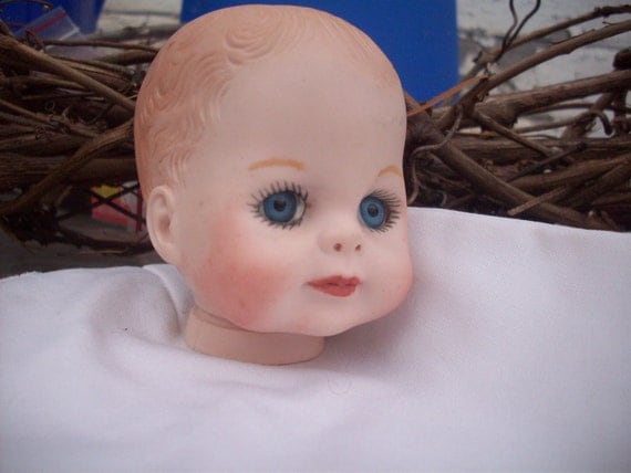 Ceramic Baby Doll Head With Big Blue Eyes and  Peach lips