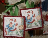 Vintage style glittered Christmas children ornaments