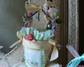 Birthday Gift basket for friend Paper Mache Shabby Chic treat bucket pink green candy container cute kittens 1950's gift