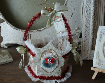 "Christmas Gift wrap embellished paper mache gift basket table decor candy container vintage style floral with ""do not open until Dec 25th"""