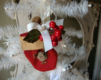 Christmas mini stocking ornament Country style red felt fabric ornament christmas home decor christmas gift cottage chic