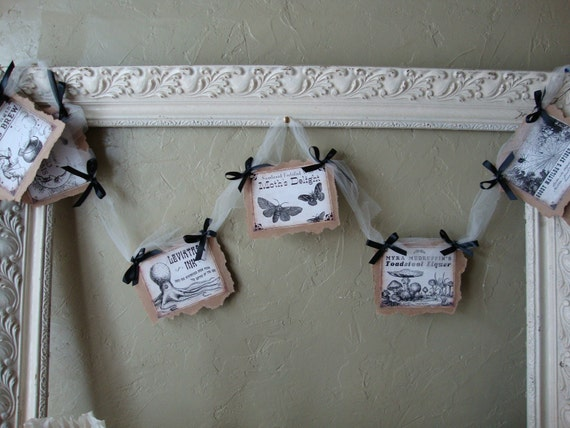 Halloween Potion  label Garland Country style Halloween Witches Brew garland labels Elegant Halloween home decor
