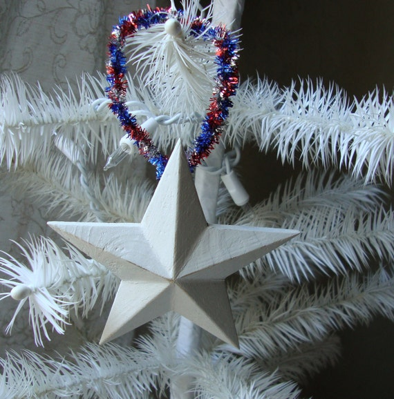 Country Christmas shabby chic White wood star americana ornament 4th of July star ornament