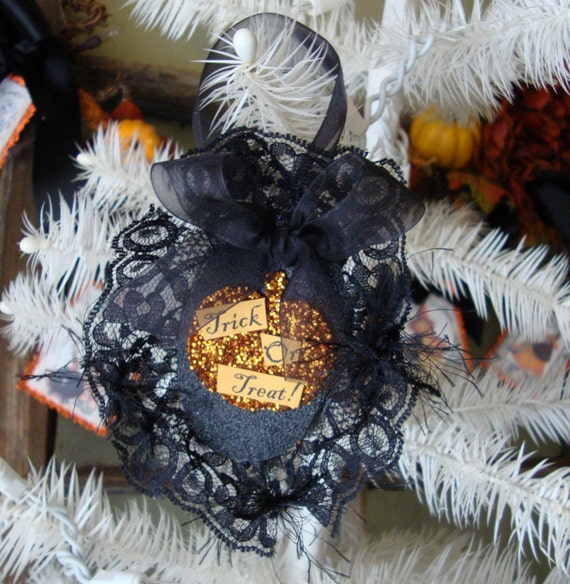 Elegant Halloween Pumpkin Black lace Trick or Treat glittered ornament