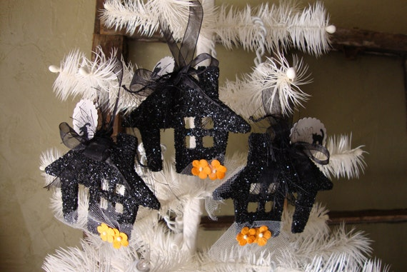 Haunted house ornaments Black glittered Halloween cute Haunted house ornaments Country cottage halloween tree decorations
