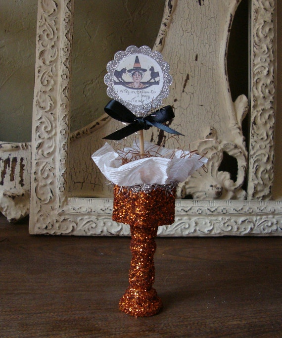 Classy Halloween Decorations: Elegant Halloween Table Decor Orange Glittered By