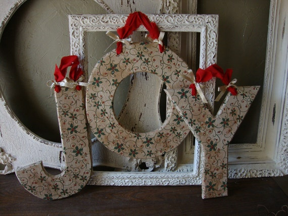 Christmas Joy Wall hanging Country Style  Large Wooden decorative Christmas Joy sign embellished wood letters