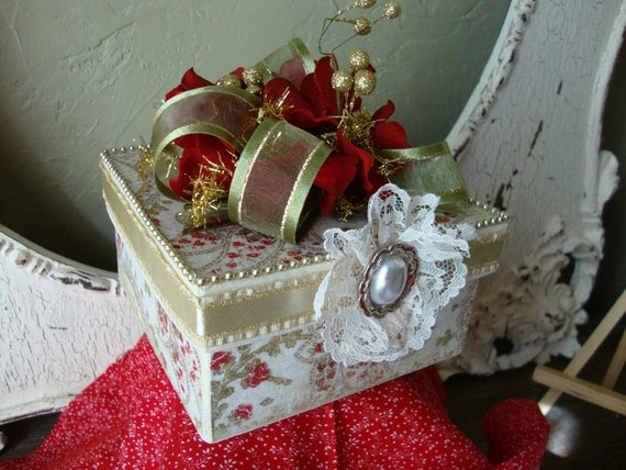 Christmas gift box elegant Victorian inspired jewelry box Altered paper mache gift box ivory red green gold Floral christmas gift box