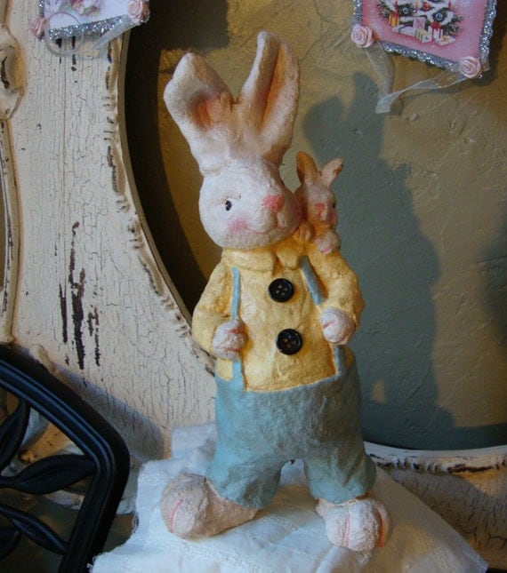 Cute Easter Boy Bunny Figurine Large Country By Paperandmache