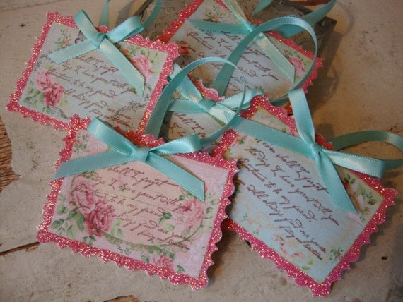 Shabby Pink tags Chic Friend gift tags pink and aqua floral Sentimental For Friend Romantic Floral pink glittered gift tags