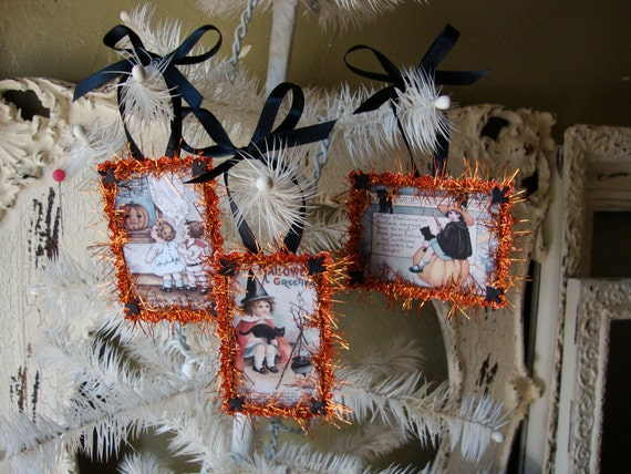 Vintage Halloween witch ornaments black and white cute witch tag ornaments elegant embellished