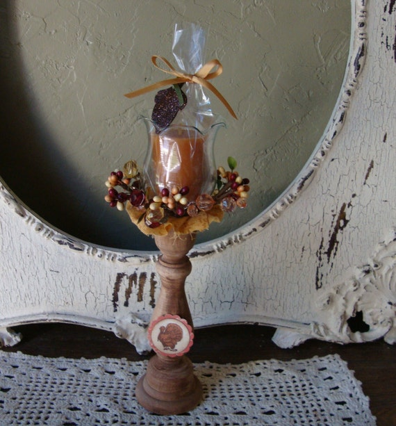 Thanksgiving Candle holder set for fall with tea light pumpkin scented candle country cottage wooden candle stick Thanksgiving turkey sign