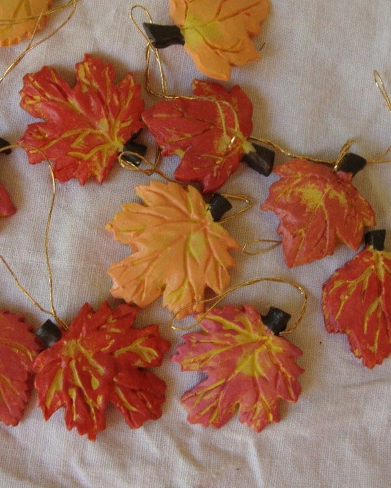 Fall Maple Leaves Mini Ornaments Yellow And Orange Fall