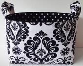 Reversible Fabric Storage Basket/Organizer Bin-- Black and White Damask