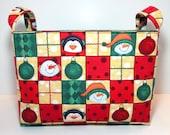 Christmas Fabric Storage Basket/Organizer Bin  - Patchwork Snowmen and Ornaments