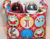 Christmas Fabric Storage Basket/Organizer Bin  - Christmas Circles