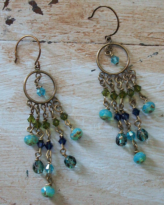 Blue/Green Chandelier Earrings