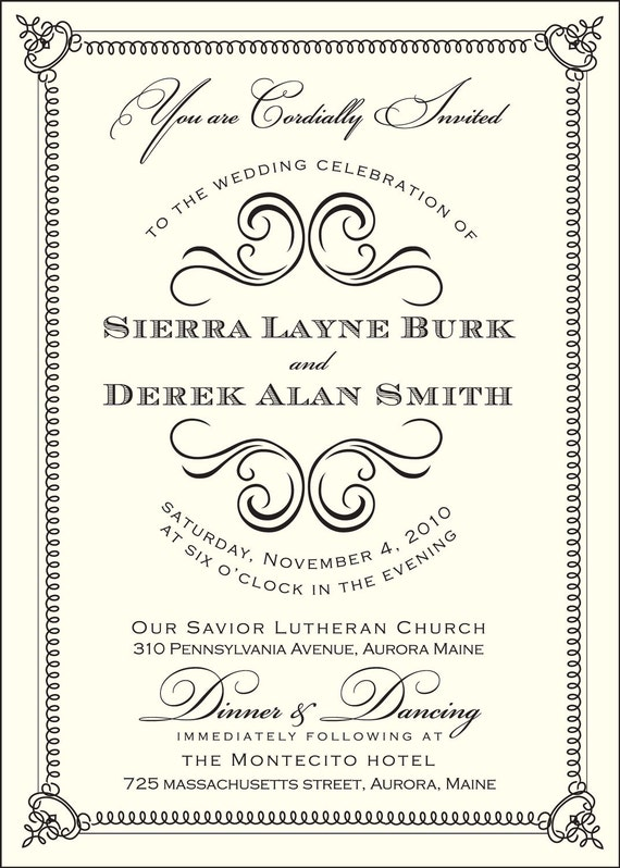 Swirl Wedding Invitation (includes response card)