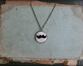 Le Stache- hand embroidered necklace - PoppyandFern