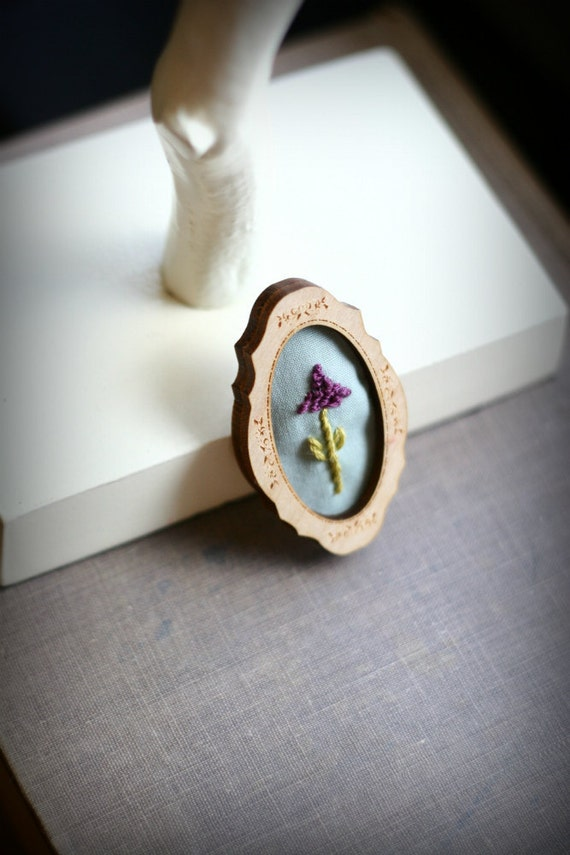 Wild Lupine- hand embroidered brooch