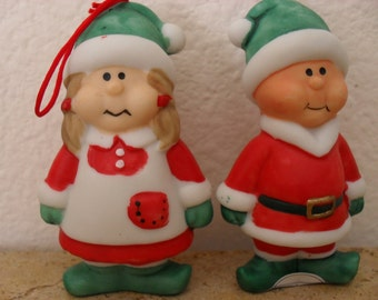 ELVES CHRISTMAS ORNAMENTS Frosty Friends Jamestown China Vintage