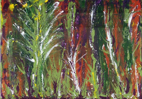 "ORIGINAL ABSTRACT Tree ART Painting Acrylic 5 x 7"" Small Painting"