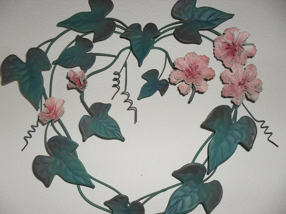 WIRE HEART and VINE Wall Hanging from Home Interiors Home Decor Set of Two