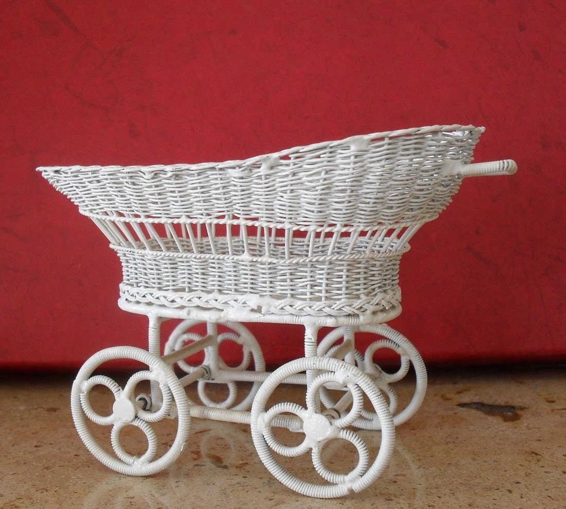 White Wicker Baby Carriage Miniature By Bevscards On Etsy