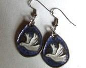 White Doves, Stoneware Earrings