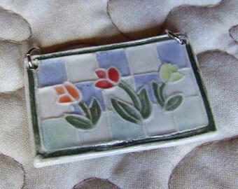 Tulips on Blue Gingham, Porcelain Pendant