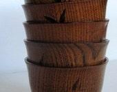 Small Teak Wood Grain Bowls Set of 5