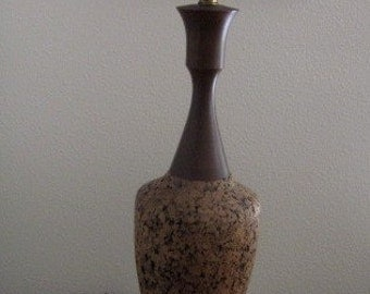 Mid-Century Modern Cork and Wood Table Lamp