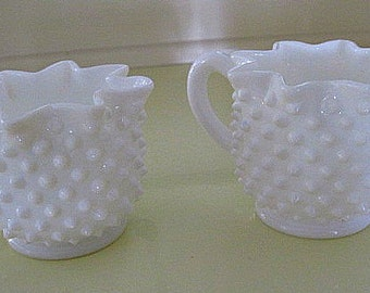Vintage Hobnail Milk Glass Ruffled Sugar and Creamer