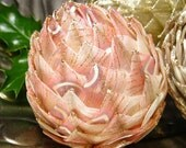 unique pink Christmas ornaments, ribbon pine cone