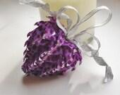 unique purple and silver ribbon heart ornament, custom valentine decoration,