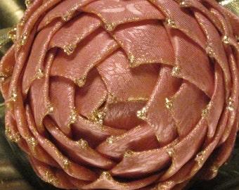 Keepsake Christmas ornament, pink, ribbon pine cone