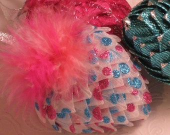 Ribbon heart ornament, pink and turquoise,