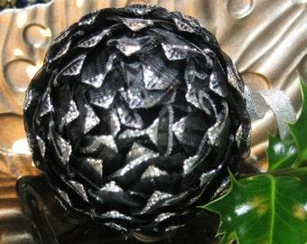 unique Christmas ornament, black and silver
