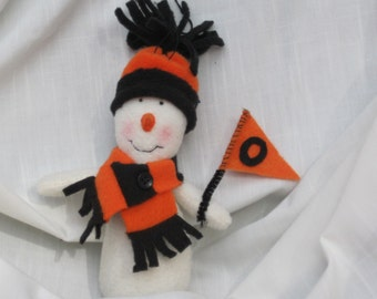 Collectible handmade snowman ornament , sports fan gift