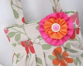 floral handbag, pink and orange