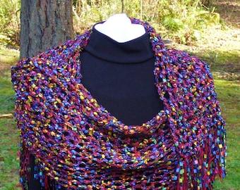 unique hand crocheted  shawl, multicolored