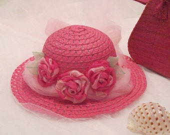 Easter hat for little girls bright pink,